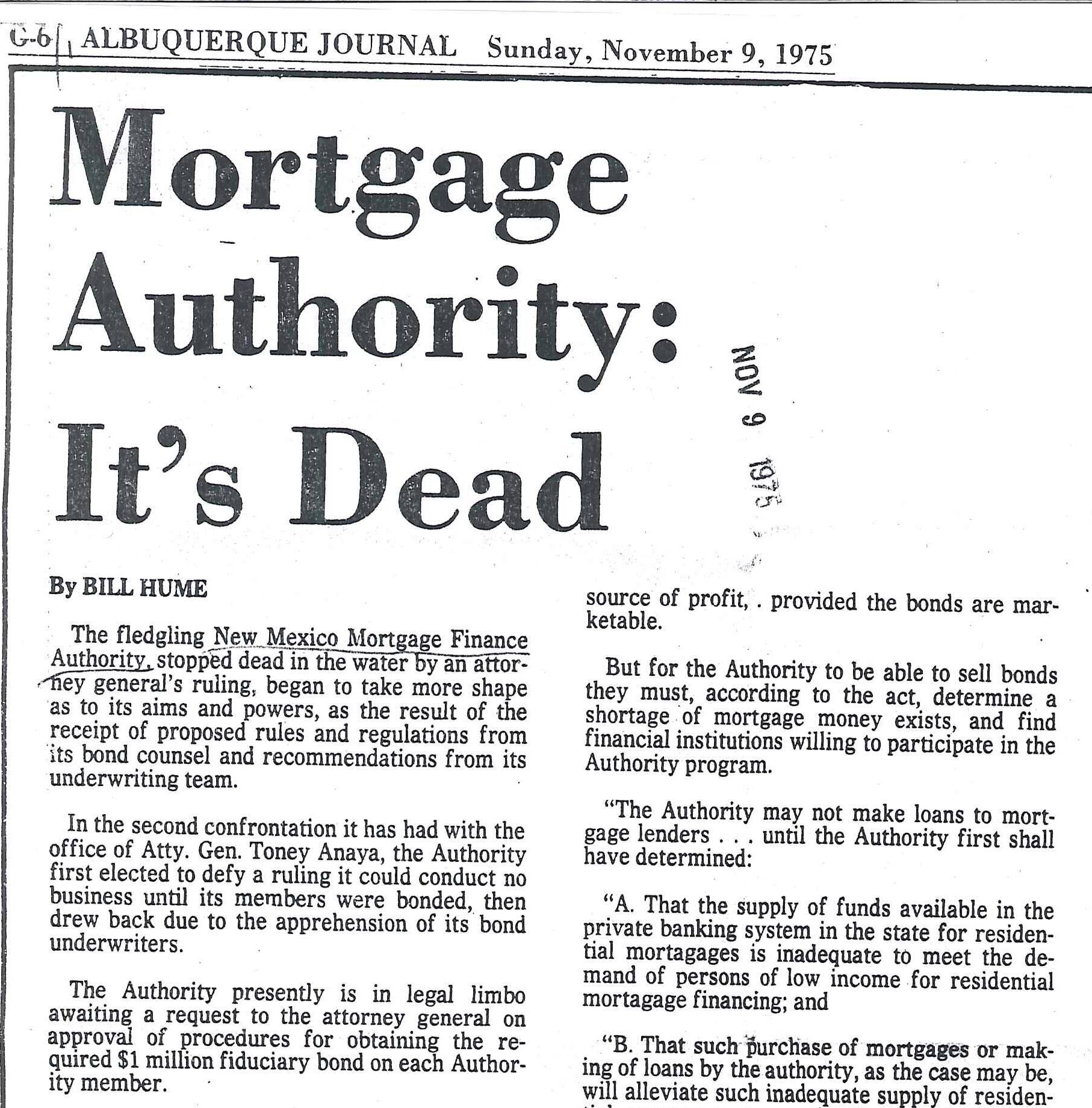 1975 Albuquerque Journal headline